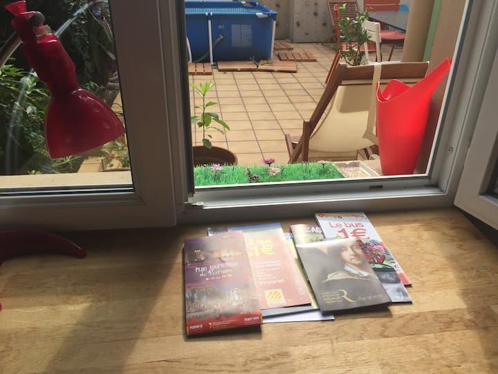 Perpignan hyper centre avec jardin zéro frais supp