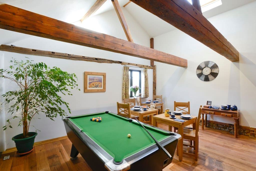 Dining area with guest pool table