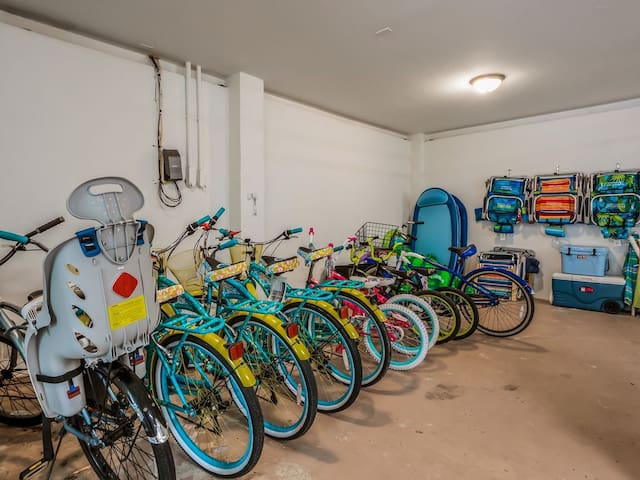 Plenty of brand new adult and children bikes to get around the island