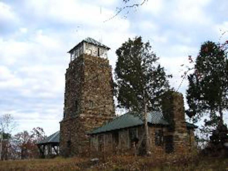 Flagg Mountain Tower on the Alabama Pinhoti Trail