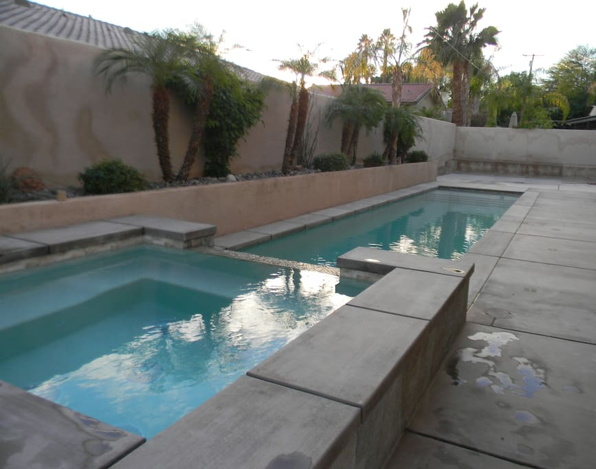 Brand new salt water lap pool (with tanning shelf) and spa.