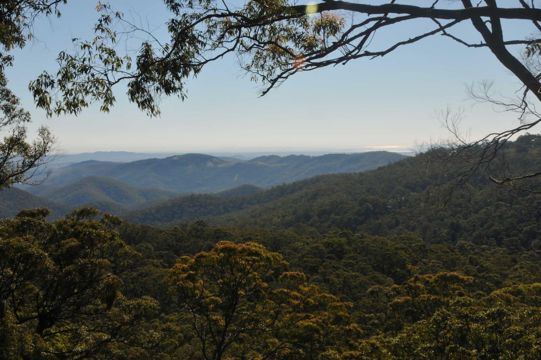 View from Noonameena across Tamborine National Park, Cedar Creek Valley, Wangawallan, and on towards Moreton Bay