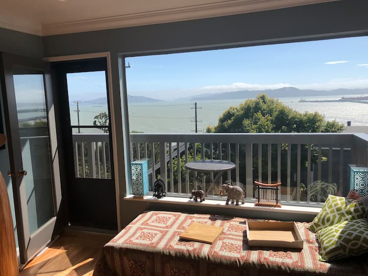 Sunny Retreat with Epic Bay Views & Free Parking