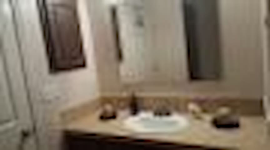 Hall/guest bathroom with tub/shower