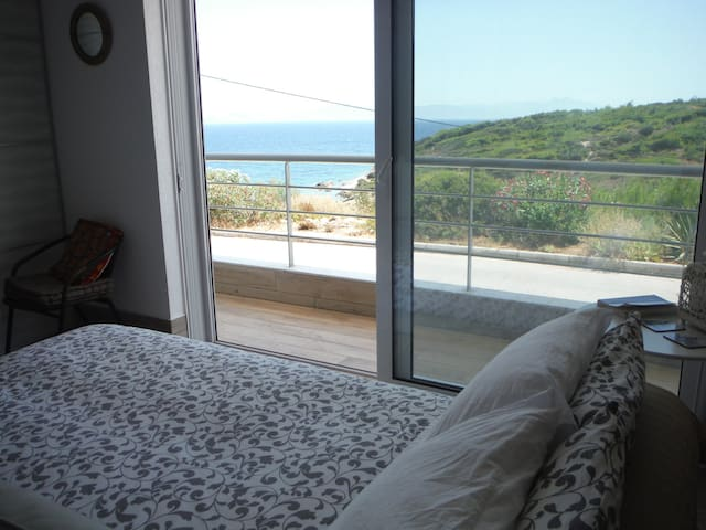 Sofa bed overlooking the Aegean Sea