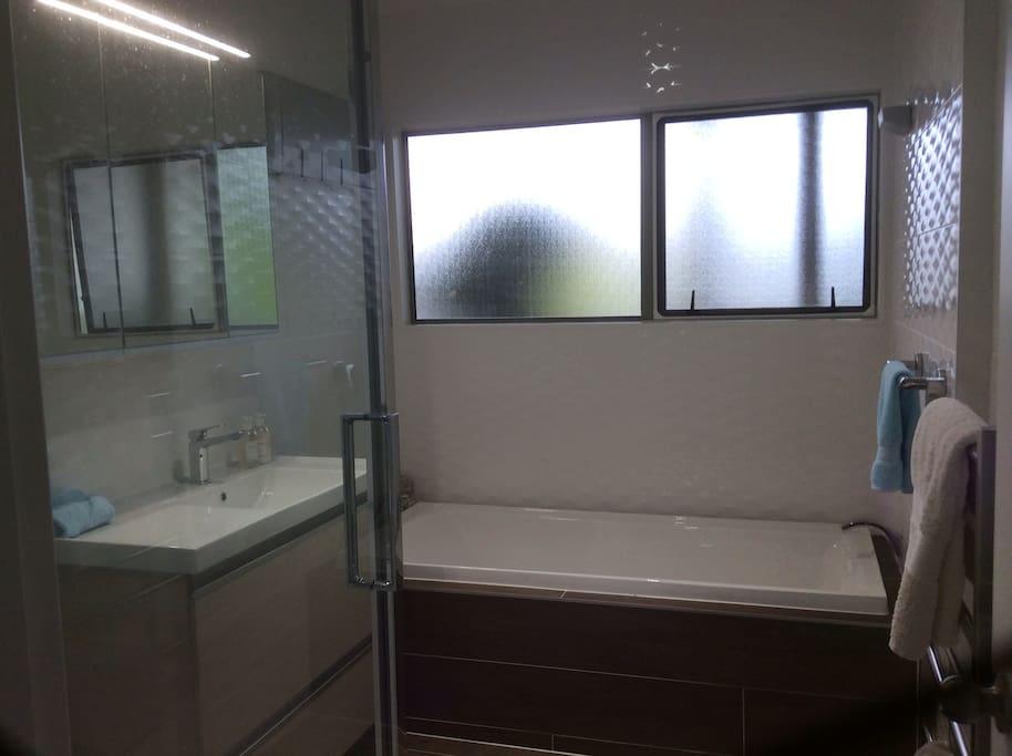 Large shower & separate Bath, Vanity