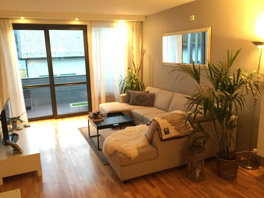 Spacious livingroom with a sofa, table, and TV.