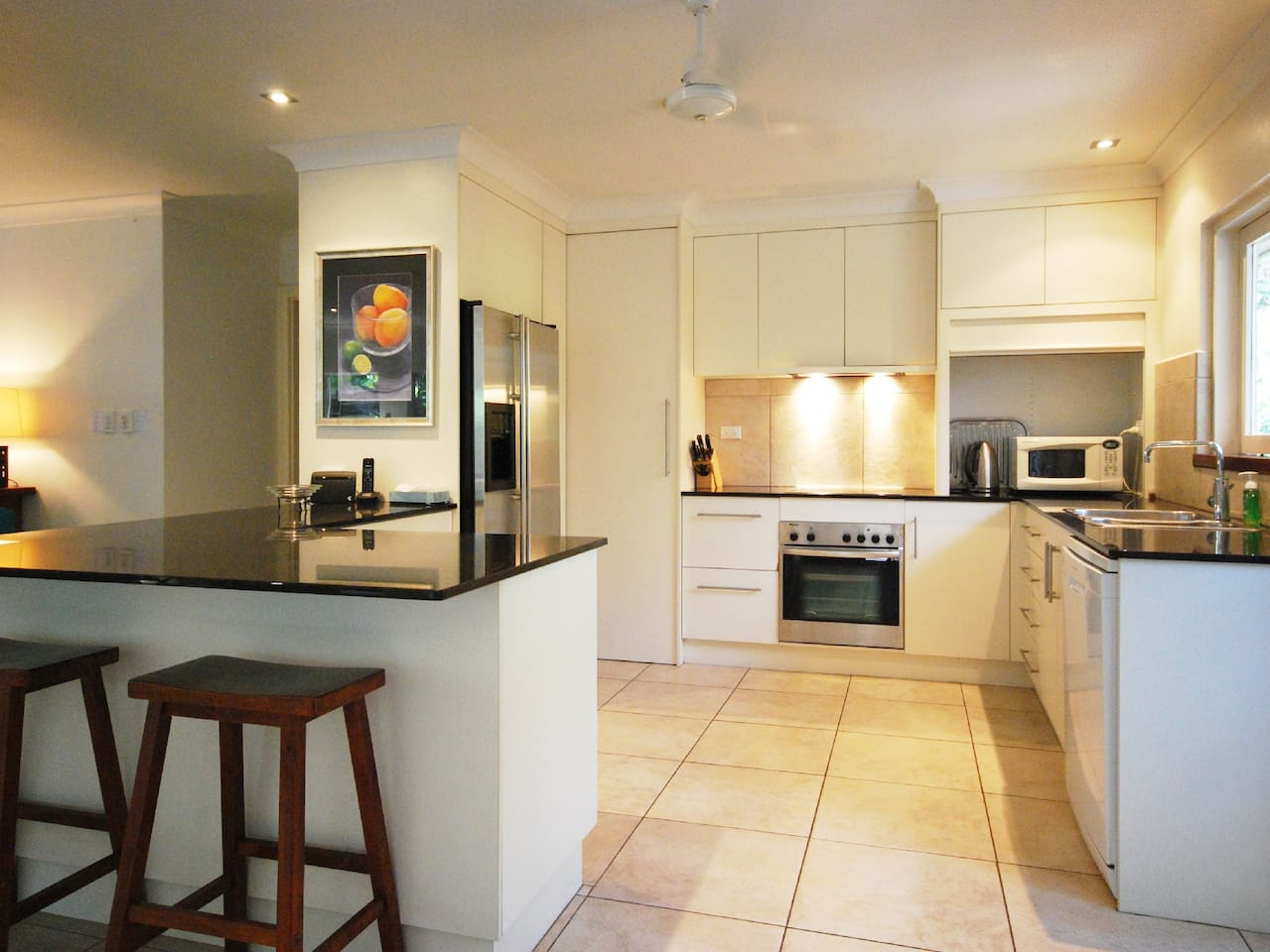 The kitchen is fully stocked with quality appliances and all the crockery, cookware and utensils you will need for your stay