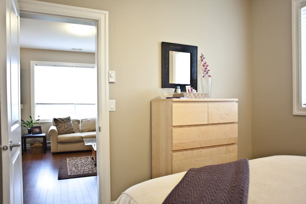 Full size dresser and night stand for your convenience.