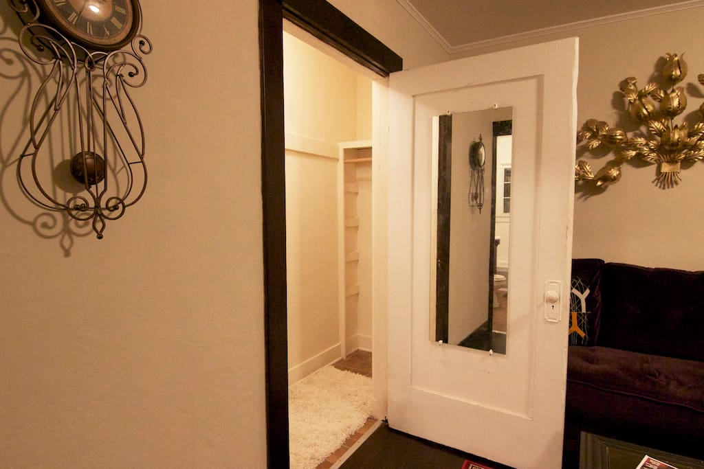 Living room closet and changing area - with a full length mirror!