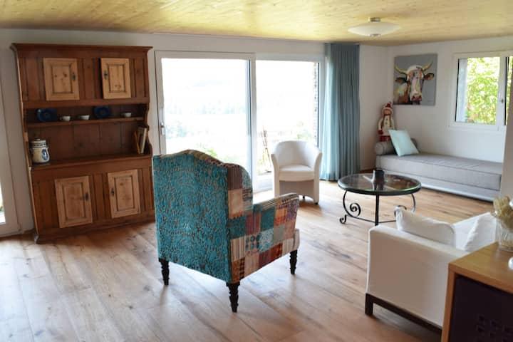 Bel appartement avec vue sur lac et montagnes