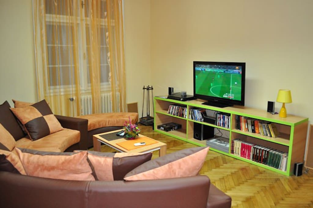 Huge living room with big LCD TV