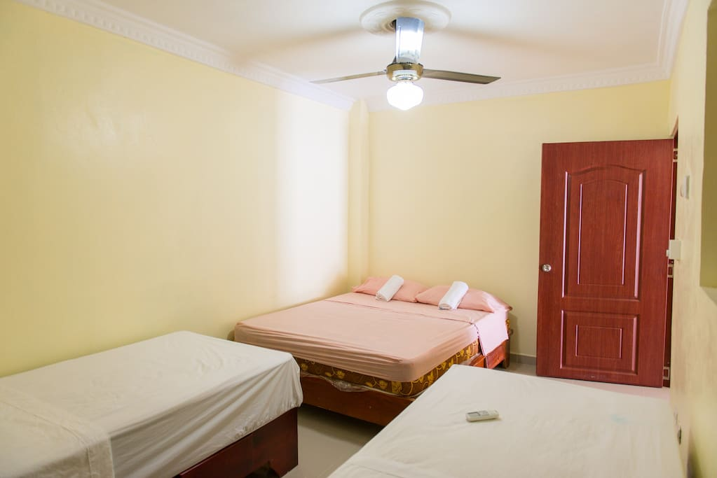 One double large and 2 single beds includes a/c, private bathroom, walking shower with hot water
