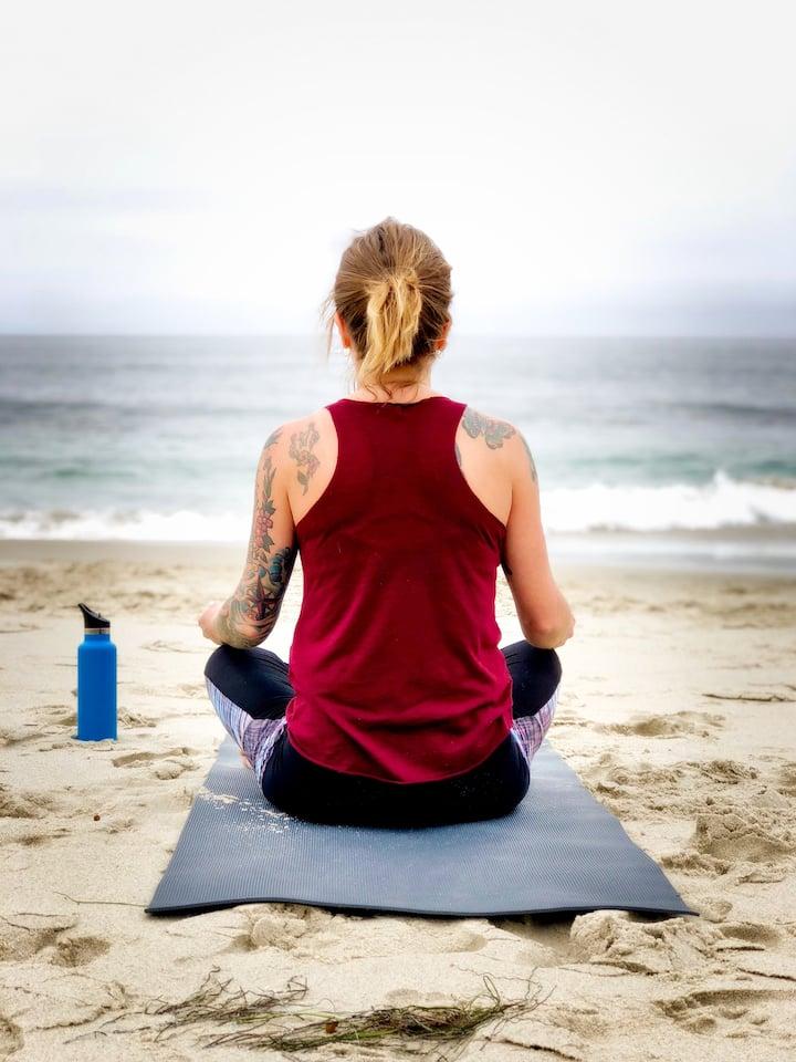 Practice yoga by the ocean