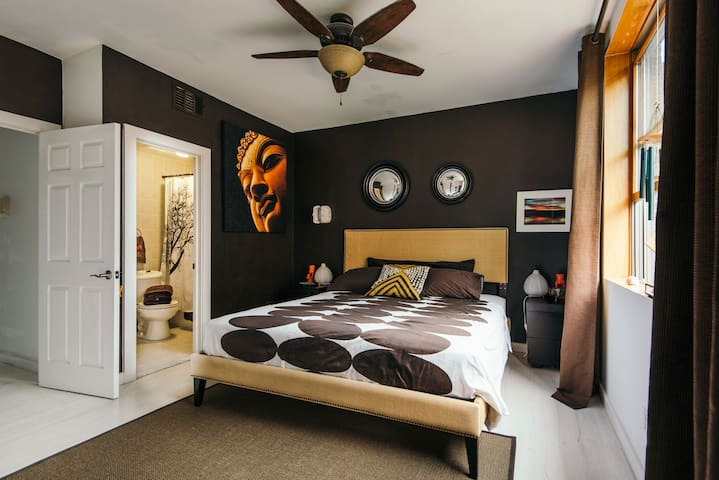 Exotic style master bedroom King size bed