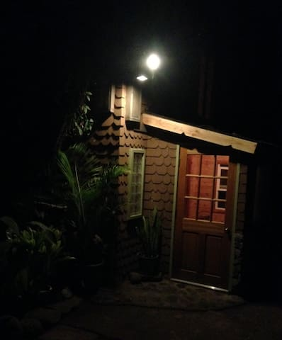 The front door by night....even cute in the dark!