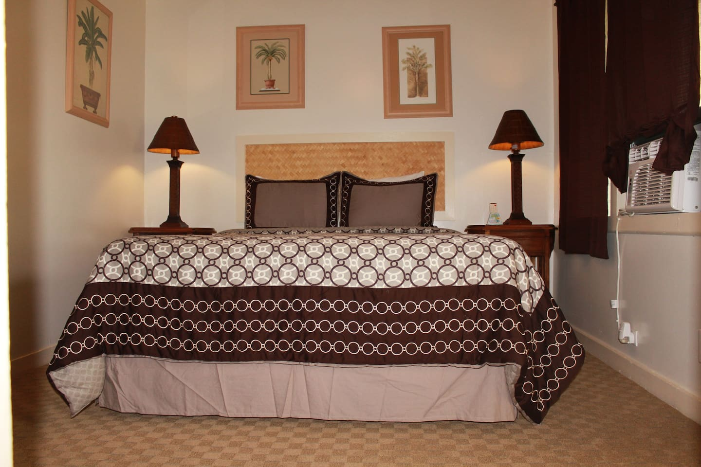 Deluxe room with A.C.  Comes with either one Queen bed or two Twin beds.  Flat screen TV, mini fridge and private bath.