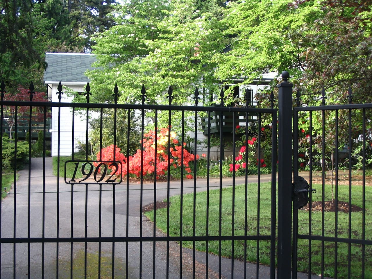 At the click of a button the gate opens to admit you to the estate.