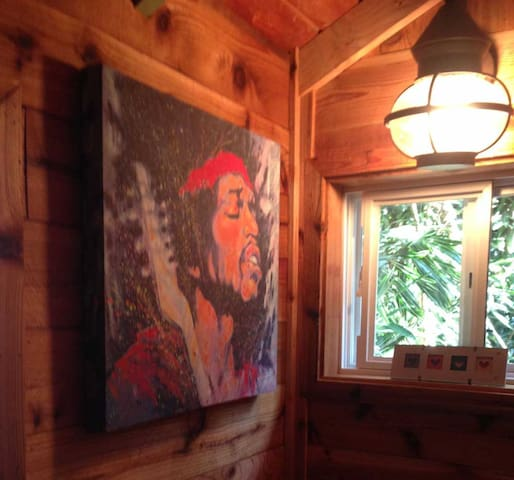 Tribute to Jimi Hendrix who stayed in this cottage in the 70's while filming Rainbow Bridge