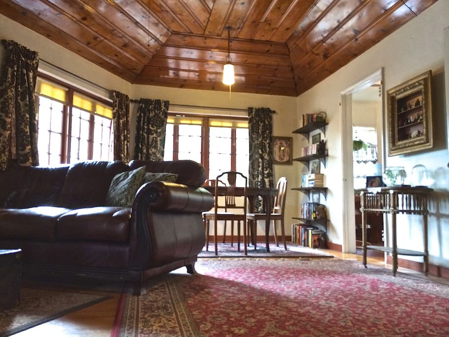 Semi-vaulted wood ceilings in living room