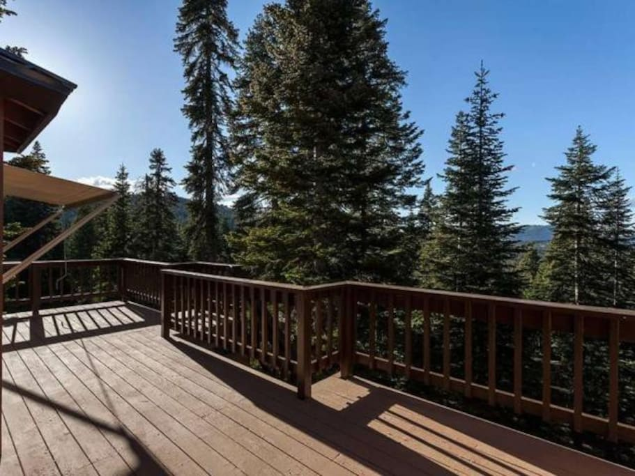 Back deck, view of forested valley.