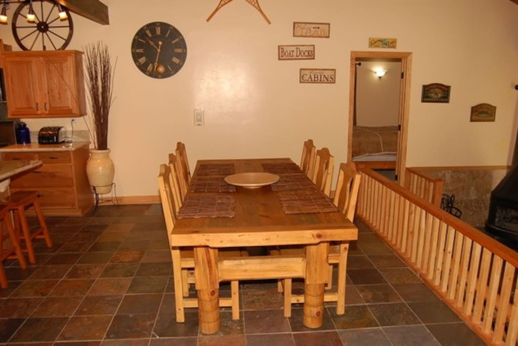 dining for 10 at the 10 foot dining table, heated floors in the dining area
