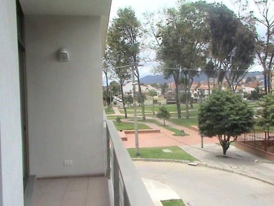 Balcony facing big park