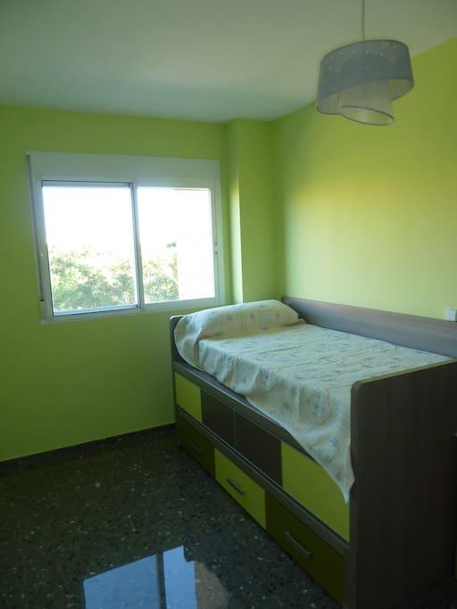 Modern, bright twin room . Great views!