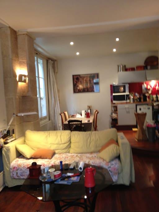 Salon, canapé lit deux places, au fond grande table de salle à mangerrallonge 9places possibles