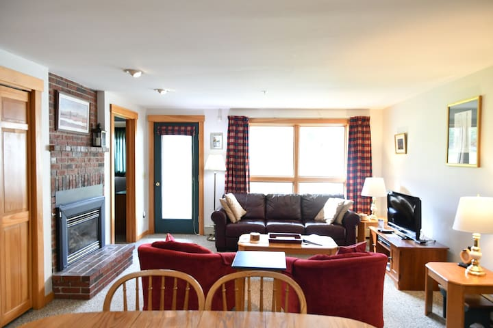 Spacious, open living room area w/ fireplace looking out on the mountain and pond.