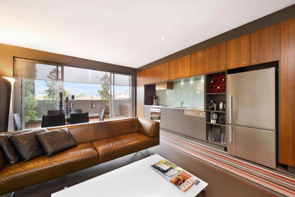 Lounge room, kitchen and dining