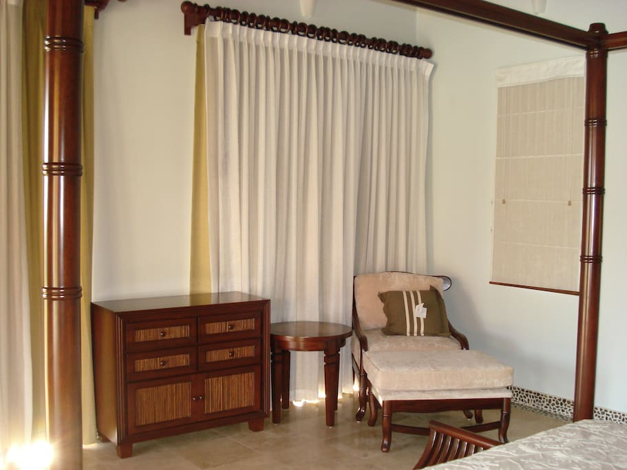 Privacy curtains in each bedroom