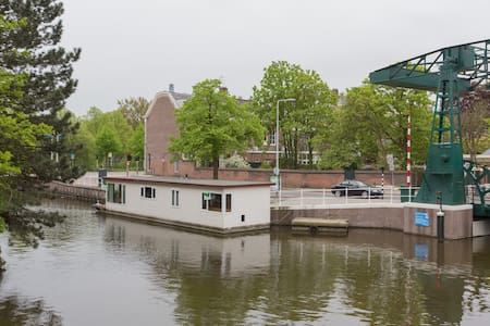Modern boat house in Leiden center