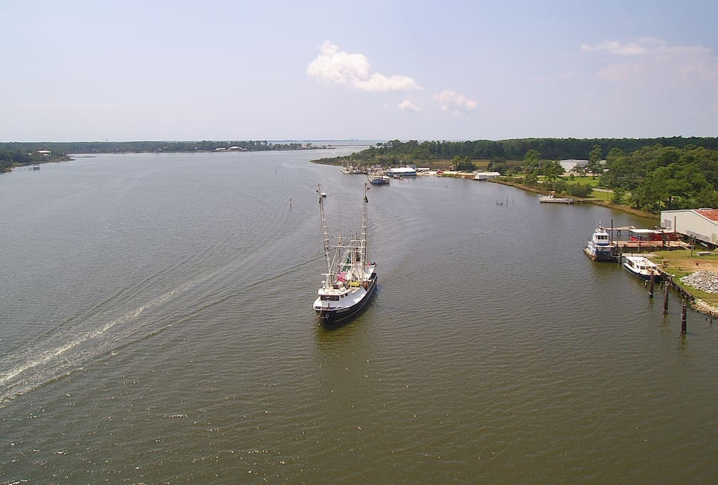 Photo from above the dock looking West toward Mobile Bay.