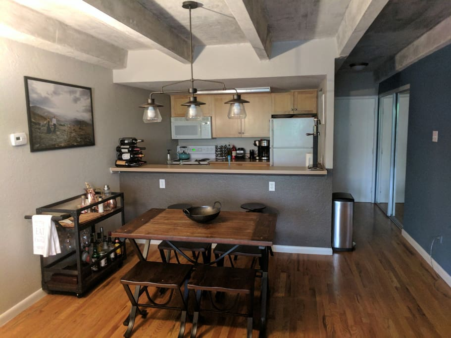 Open living space with kitchen and eating area