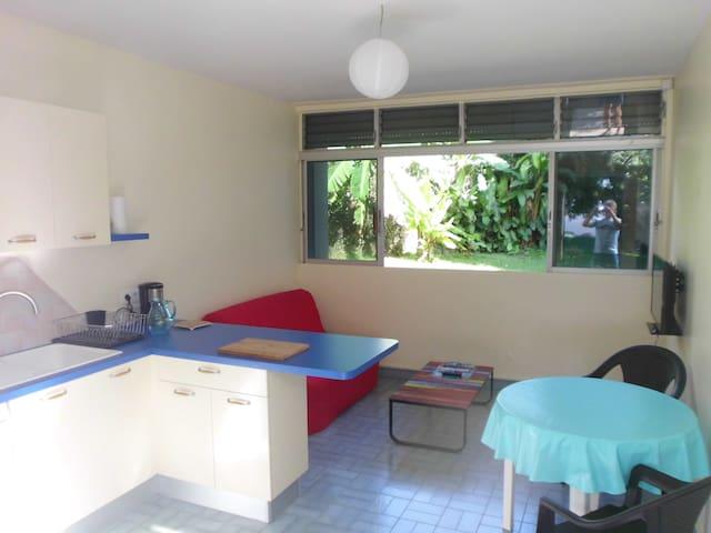Séjour-cuisine et chambre climatisée