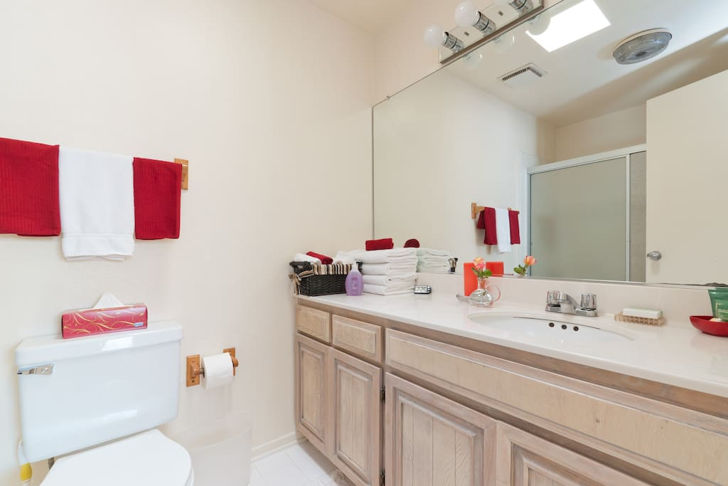 Super clean bathroom with shower, tub and skylight.
