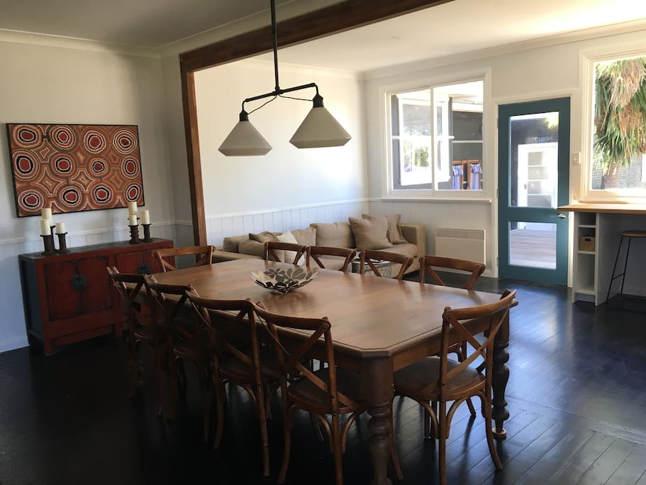 The Farmhouse - dining area (entry door & kitchen couch in background)