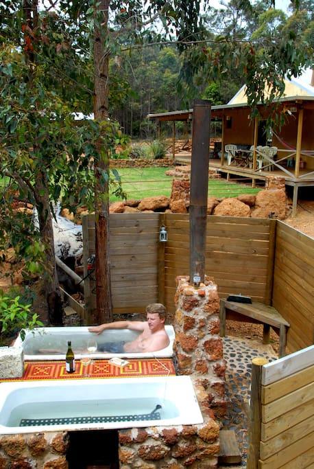 Soak in the outdoor hot tubs