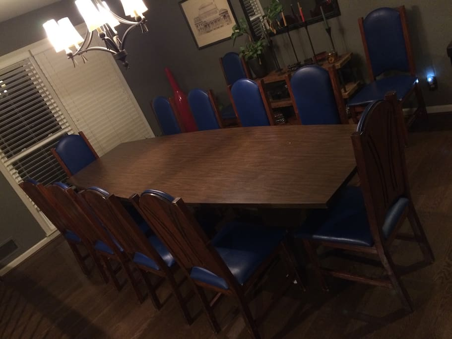 Dining area. Open to the main room, right near the kitchen. 12 chairs.