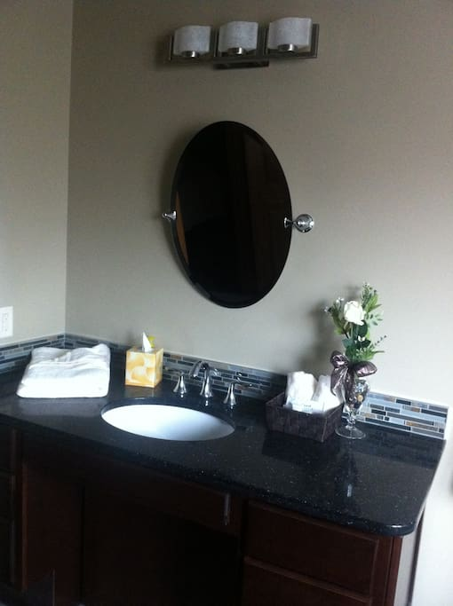 The ensuite vanity is designed to accommodate wheelchair access