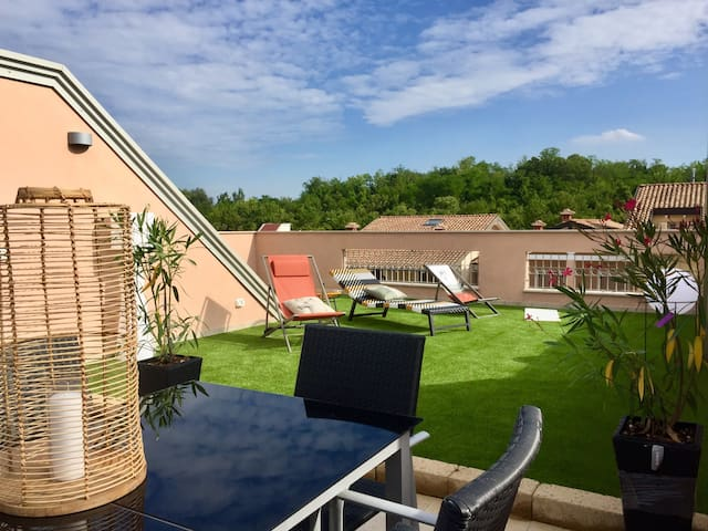 """ Attic 82 ""  Rooftop garden with lake view"