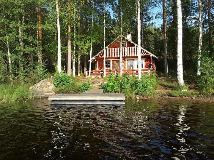 Hütte am Strand: Blockhütte + Sauna für 4 Personen
