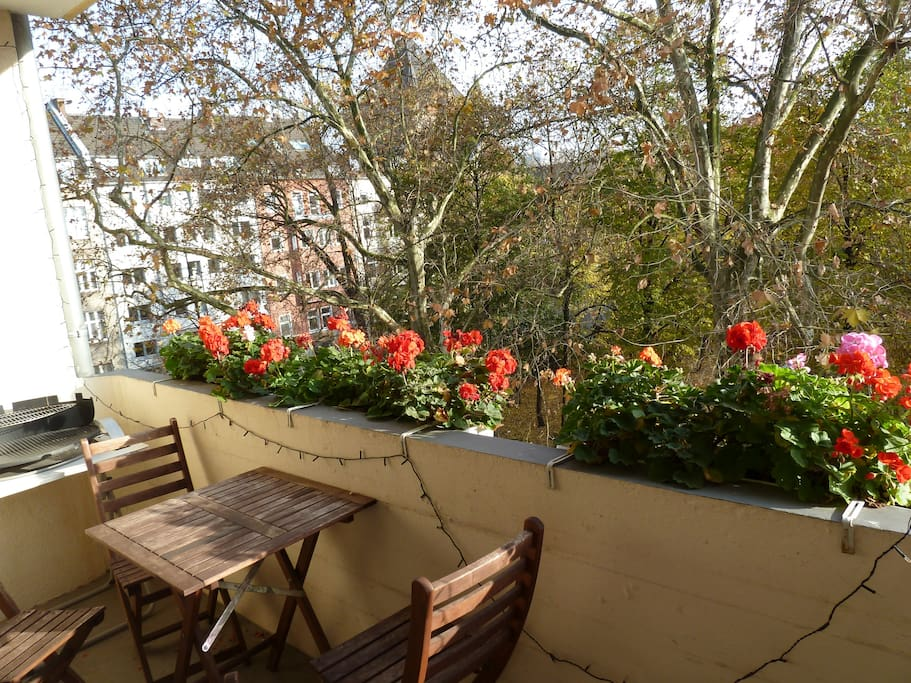 Balcony with view to Rathenauplatz (small park with playground and small beergarden in summer)