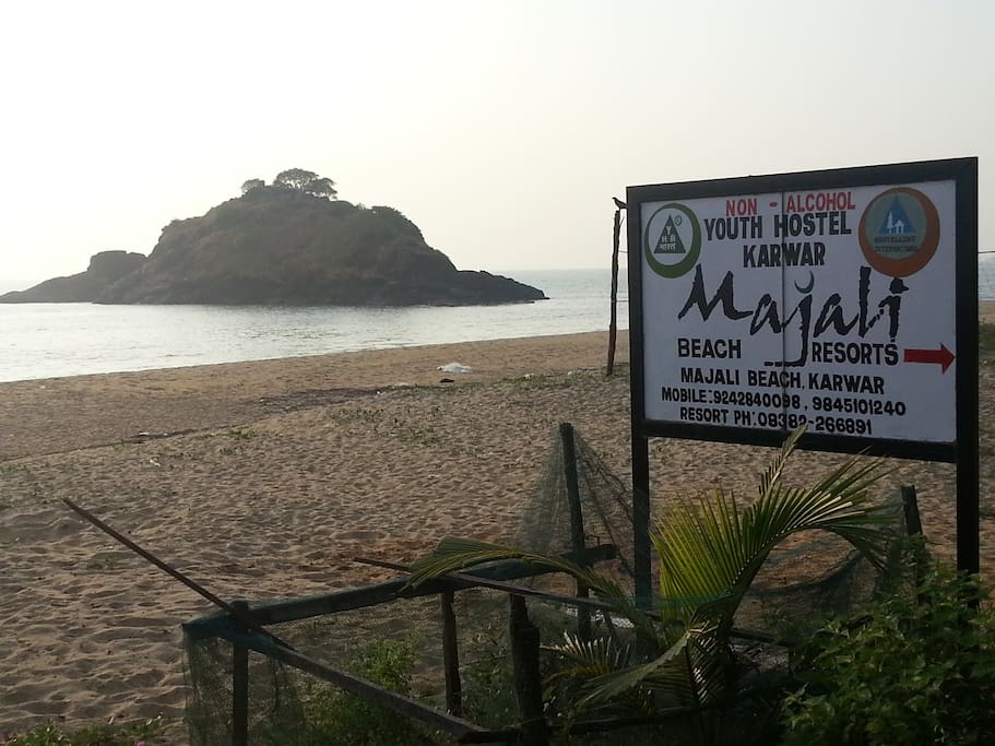 Small island in front of majali beach village resort you can trek to the island on low tide time adventure sport back of it u can rappel