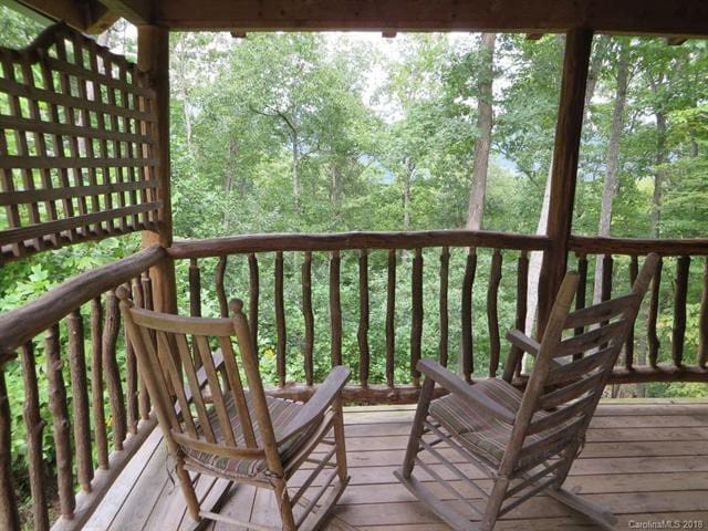 Relax in rocking chairs on the porch while soaking in the mountain air