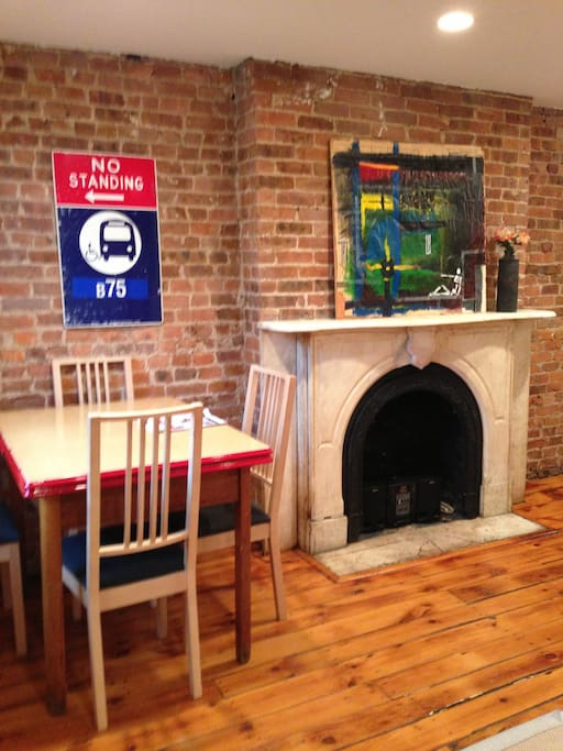Dining table and decorative fireplace