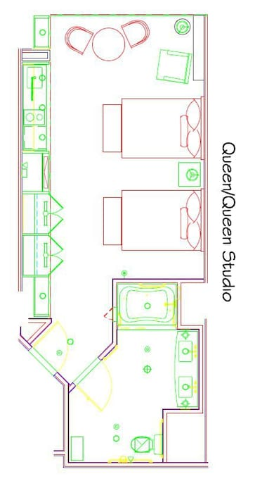 floor plan of the 2 queen bed studio