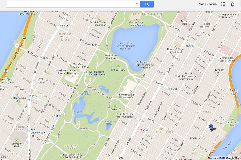My place is the blue pin. Located in the Upper East Side neighborhood of Manhattan, between Central Park and East End River. (not in Roosevelt Island).