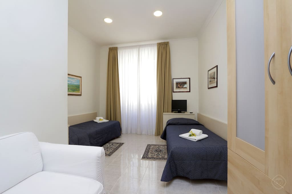 The three bedrooms consist of a comfortable double bed, four single beds and a single sofa-bed. All have plenty of closet space and the double has an en-suite bathroom